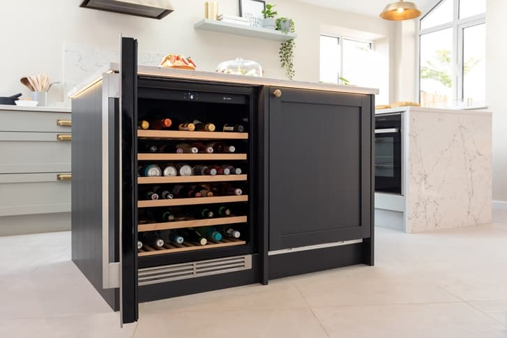shaker Croft kitchen with open wine cooler
