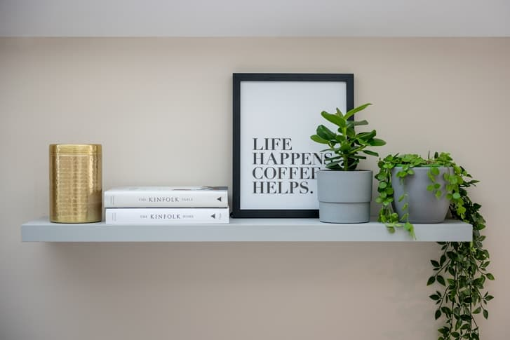 croft kitchen shelf with plants, books and frames