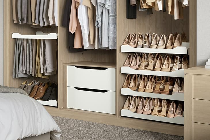 willoughby sliding wardrobe open with shoe rack and clothes storage